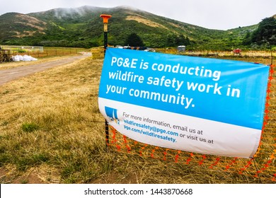 July 4, 2019 Sausalito / CA / USA - PG&E sign stating that the Company is conducting wildfire safety work