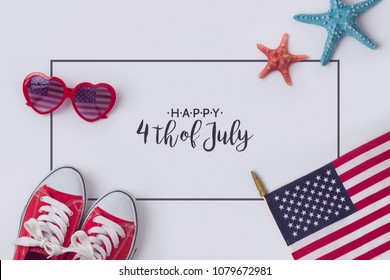 July 4th concept, Independence day celebration with USA flag, sunglasses and sneakers.View from above. Flat lay