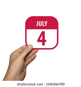 july 4th. Day 4 of month,hand hold simple calendar icon with date on white background. Planning. Time management. Set of calendar icons for web design. summer month, day of the year concept