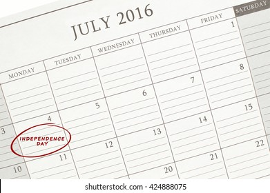 July 4th Independence Day Calendar 2016