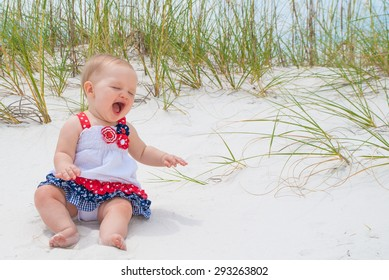 July 4th Patriotic Baby Girl at the Beach