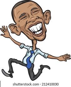 JULY 5, 2014: illustration of President Obama jumping joy