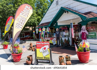 JULY 5 2015 - WEED, CALIFORNIA: Weed Souvenir gift shop sells various marijuana themed merchandise as a play and pun on the town's name. The town is named after Abner Weed, founder of a lumbermill.
