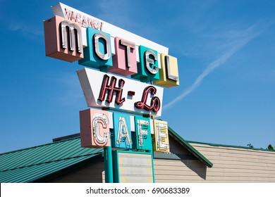 JULY 5 2015 - WEED, CALIFORNIA: The colorful, vintage Hi-Lo Motel and Cafe sign indicates that the motel has vacancy for summer travelers.