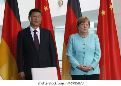JULY 5, 2017 - BERLIN: Chinese President Xi Jinping and German Chancellor Angela Merkel at a press conference after a meeting in the Chanclery in Berlin.