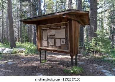 JULY 5 2018 - Mammoth Lakes, CALIFORNIA: Information interpretive sign tells visitors about the abandoned Mammoth Consolidated Mine site