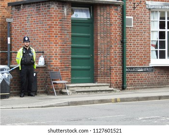 July 5 2018. Salisbury UK. The home of Dawn Sturgess, critically ill after novichok exposure, with a police guard a few hours before the focus of the investigation at this site heightened and widened