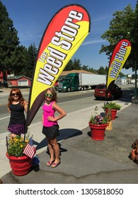 JULY 5 2018 - WEED, CALIFORNIA: Weed Souvenir gift shop sells various marijuana themed merchandise as a play and pun on the town's name. The town is named after Abner Weed, founder of a lumbermill.