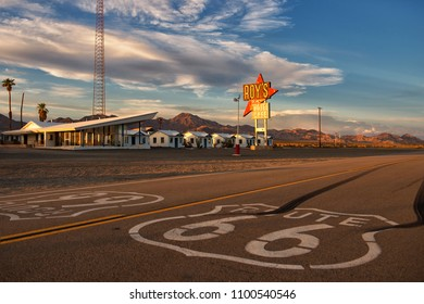 July 6 2015 / Amboy, California, USA: Roy's Motel and Cafe (opened 1938) is a historic and famous stop on Route 66