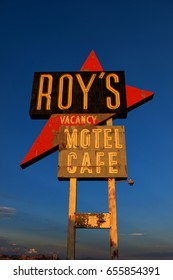 July 6 2015 / Amboy, California, USA: Roy's Motel and Cafe (opened 1938) is a historic and famous stop on Route 66.