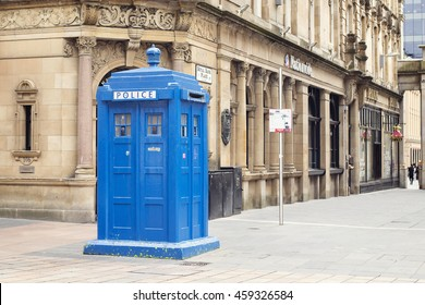 JULY 6, 2016 - GLASGOW, SCOTLAND Blue police box on Buchanan Street in Glasgow.