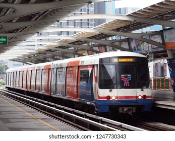 July 6, 2018:  BANGKOK electric sky train parking and waiting for people at a station in BANGKOK, the capital city of THAILAND
