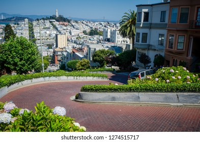 JULY 6 2018 - SAN FRANCISCO, CALIFORNIA: View from the top of Lombard Street, the crookedest street in San Francisco