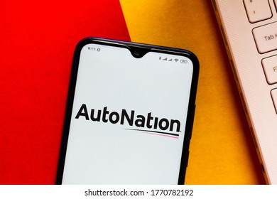 July 6, 2020, Brazil. In this photo illustration the AutoNation logo seen displayed on a smartphone