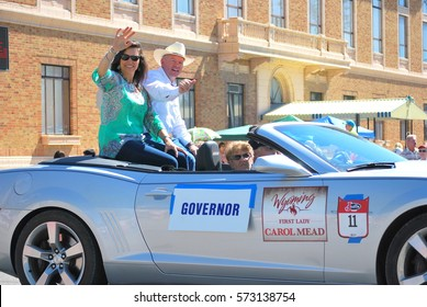 JULY 7, 2014. CASPER, WY. CIRCA: Governor Matt Mead and First lady Carol Mead leading the annual parade in Casper, Wy.