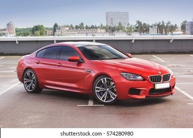 July 7, 2016; Kiev, Ukraine. BMW M6 against the backdrop of the city. Editorial photo.