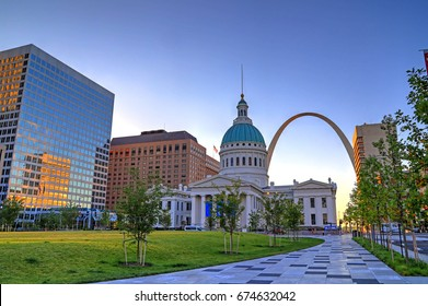 July 7, 2017 - St. Louis, Missouri - Keiner Plaza and the Gateway Arch in St. Louis, Missouri.