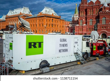 July 7, 2018, Moscow, Russia Mobile TV Studio Russia Today on Manezhnaya square in Moscow.