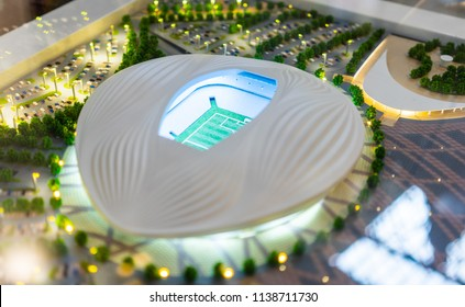 July 7, 2018, Moscow, Russia The mock-up of the Al Wakrah Stadium at which the matches of the FIFA World Cup 2022 in Qatar will be held.