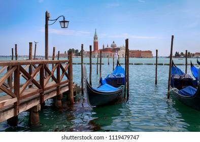 July 8, 2013, Italy, Venice. Gondolas. City landscape