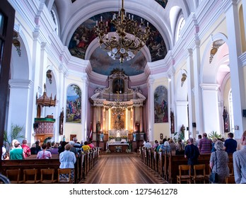 July 8, 2018 Daugavpils, Latvia. Church service in the Catholic Church of the Immaculate Conception of the Blessed Virgin Mary.