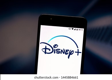 July 8, 2019, Brazil. In this photo illustration the Disney+ (Plus) logo is displayed on a smartphone.