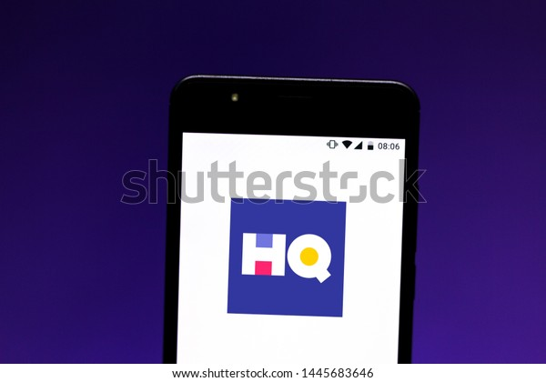 July 8, 2019, Brazil. In this photo illustration the HQ Trivia logo is displayed on a smartphone.