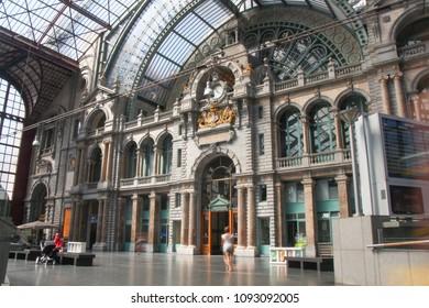July 9, 2013 - Antwerp, Belgium: View of the Antwerp Railway Station Clock Tower in Belgium.