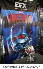 July 9, 2015: San Diego Comic Con, the annual pop culture and fandom convention in San Diego, California. Antman helmet on display at the EFX booth.