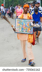 "July 9, 2016: A ""sadhu"" roams the streets of Kasauli, India, asking for alms in the name of the Shani (Saturday) God. Such sights are commonplace all over India, particularly in crowded places"