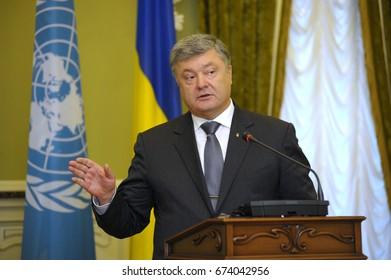 July 9, 2017. Kyiv, Ukraine. Briefing of Petr Poroshenko, the President of Ukraine.