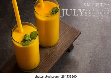 July Calender with food background