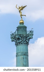 "July Column (1840) on Bastille Square. Place de la Bastille is a square in Paris, where the Bastille prison stood until the ""Storming of the Bastille"" during French Revolution. France."