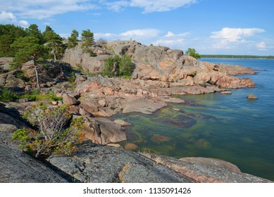 A July day on the rocks of the peninsula of Hanko. Southern Finland