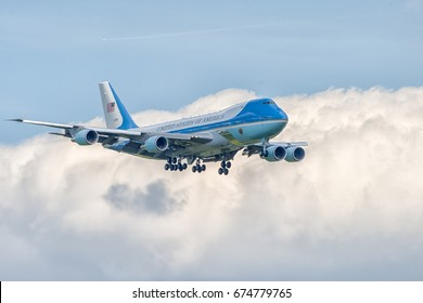 July,06,2017 Airport Hamburg Germany HAM - Air Force One landing - G20 summit