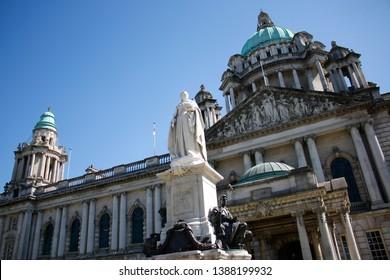 JULY2018 - BELFAST: Queen Victoria-Statue, City Hall, Belfast, Northern Ireland.