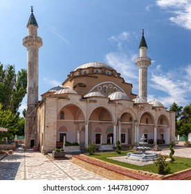 The Juma-Jami Mosque, the largest mosque of Crimea, is located in Yevpatoria, Crimea. Built between 1552 and 1564, and designed by the Ottoman architect Mimar Sinan.