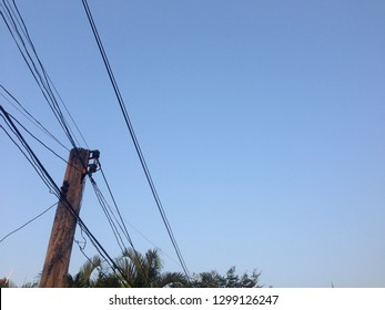 The Jumble of messy overhead telephone cables lines commonly seen in bangkok Thailand Jan 2019
