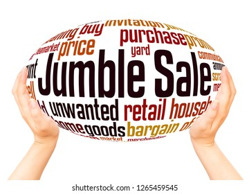 Jumble Sale word cloud hand sphere concept on white background.