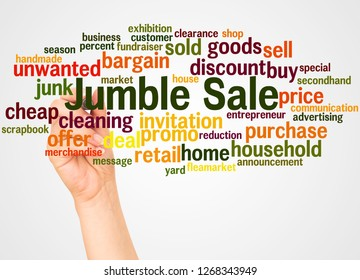 Jumble Sale word cloud and hand with marker concept on white background.