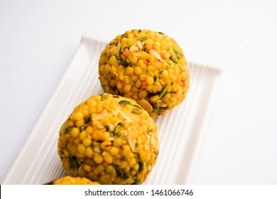 Jumbo Boondi Laddu mixed with dry fruits also know as laddoo/ ladoo/ laddo or Sweet dumplings made during festivals or weddings
