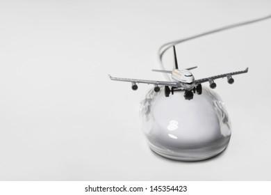 Jumbo jet on  computer mouse digital composite