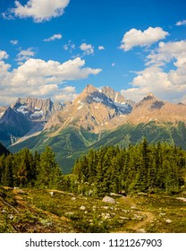 Jumbo Pass hiking trail, British Columbia, Canada. Purcell Mountains landscape.
