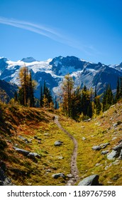 The Jumbo Pass hiking trail in fall with a glacier background, deep in the Purcell Mountains, British Columbia, Canada