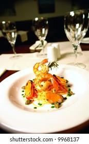 Jumbo shrimp with mussels and served over spaghetti