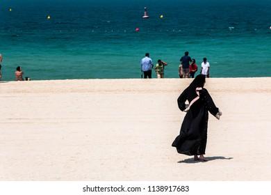 JUMEIRAH BEACH, DUBAI,UAE-20th SEPTEMBER 2017:-Jumeirah beach on the arabian peninsular has beautiful turquise waters, locals and tourists alike enjoy this area.