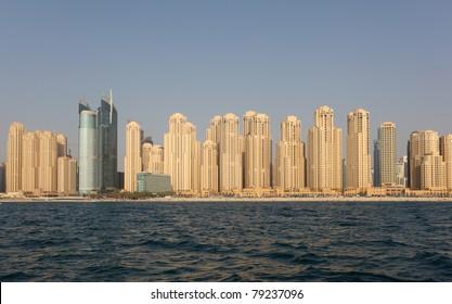 Jumeirah Beach Residence as seen from the sea. Dubai, United Arab Emirates