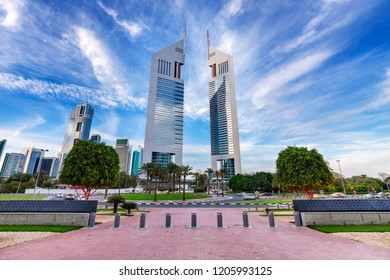 Jumeirah Emirates Towers, Dubai, UAE - March 2016: A view of Emirates Tower and Hotel from DIFC