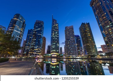 Jumeirah Lakes Towers, Dubai, UAE, March 2017: A view of JLT Business District in Dubai