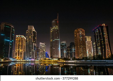 Jumeirah Lakes Towers night view in Dubai, United Arab Emirates, Dubai, skyscrapers